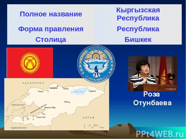 Роза Отунбаева Полное название Кыргызская Республика Форма правления Республика Столица Бишкек