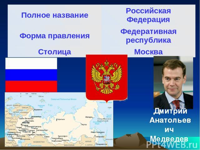 Дмитрий Анатольевич Медведев Полное название Российская Федерация Форма правления Федеративная республика Столица Москва