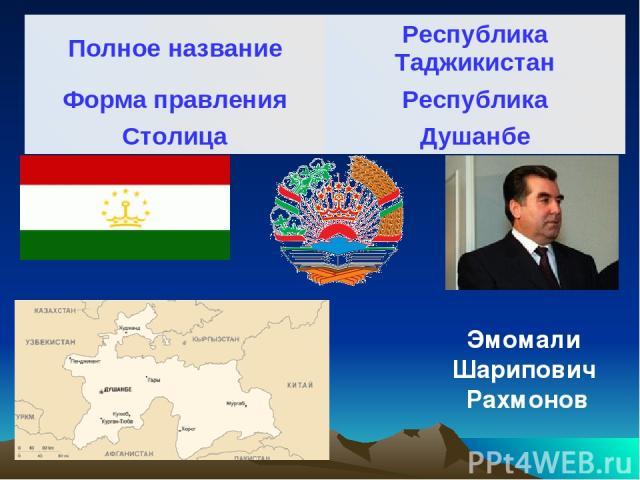 Эмомали Шарипович Рахмонов Полное название Республика Таджикистан Форма правления Республика Столица Душанбе