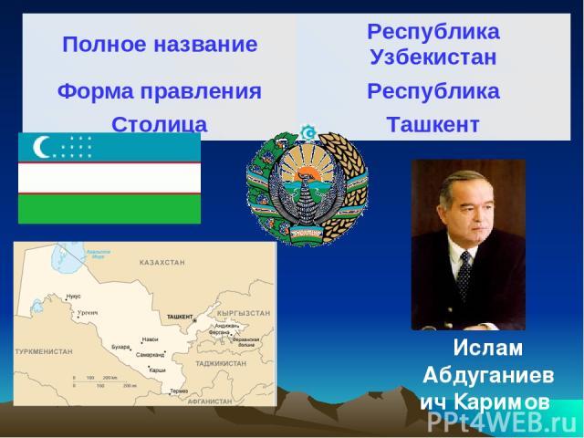 Ислам Абдуганиевич Каримов Полное название Республика Узбекистан Форма правления Республика Столица Ташкент
