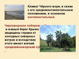 Климат Чёрного моря, в связи с его среднеконтинентальным положением, в основном