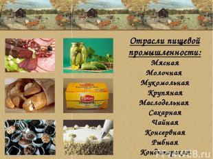 Отрасли пищевой промышленности: Мясная Молочная Мукомольная Крупяная Маслодельна