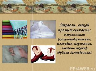 Отрасли легкой промышленности: текстильная (хлопчатобумажные, шелковые, шерстяны