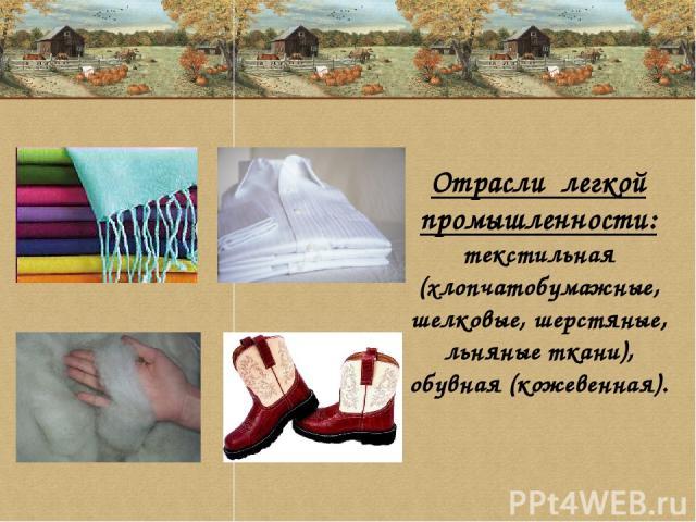 Отрасли легкой промышленности: текстильная (хлопчатобумажные, шелковые, шерстяные, льняные ткани), обувная (кожевенная).