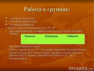 Работа в группах: 1-ая группа Уральская 2-ая группа Центральная 3-я группа Сибир