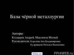 Базы чёрной металлургии Авторы: Колдырев Андрей, Максимов Матвей Руководители: К