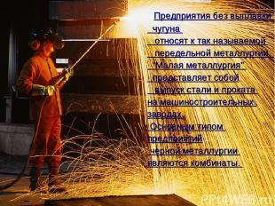 Предприятия без выплавки чугуна относят к так называемой передельной металлургии