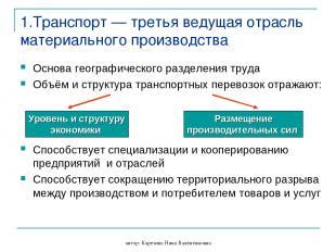 автор: Карезина Нина Валентиновна 1.Транспорт — третья ведущая отрасль материаль