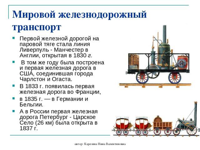 автор: Карезина Нина Валентиновна Мировой железнодорожный транспорт Первой железной дорогой на паровой тяге стала линия Ливерпуль - Манчестер в Англии, открытая в 1830 г. В том же году была построена и первая железная дорога в США, соединившая город…