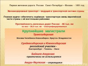 Первая железная дорога России Санкт-Петербург – Москва - 1851 год Железнодорожны