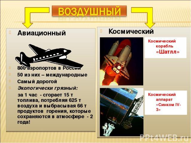 Авиационный 800 аэропортов в России 50 из них – международные Самый дорогой Экологически грязный: за 1 час - сгорает 15 т топлива, потребляя 625 т воздуха и выбрасывая 66 т продуктов горения, которые сохраняются в атмосфере - 2 года! Космический Кос…