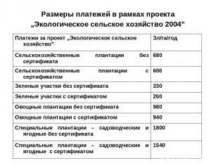 """Размеры платежей в рамках проекта """"Экологическое сельское хозяйство 2004"""" Платеж"""