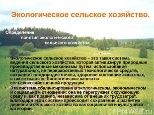 Экологическое сельское хозяйство. Определение понятия экологического сельского х