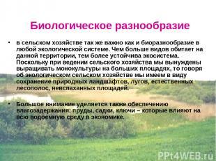 в сельском хозяйстве так же важно как и биоразнообразие в любой экологической си