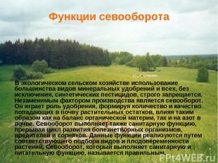 Функции севооборота В экологическом сельском хозяйстве использование большинства