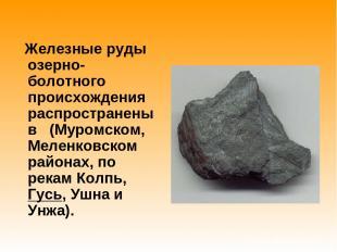 Железные руды озерно-болотного происхождения распространены в (Муромском, Меленк