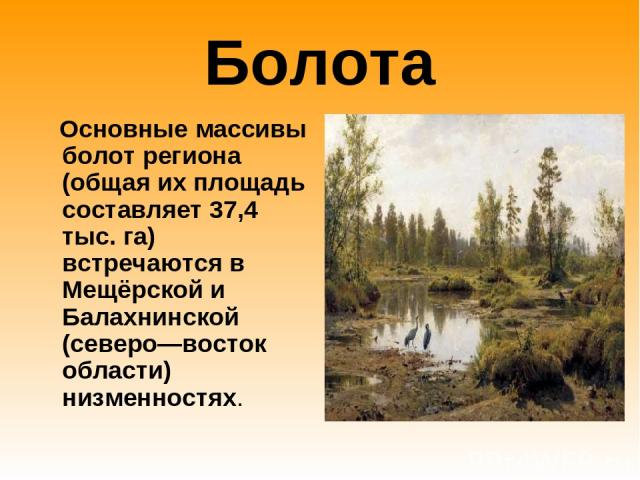 Болота Основные массивы болот региона (общая их площадь составляет 37,4 тыс. га) встречаются в Мещёрской и Балахнинской (северо—восток области) низменностях.