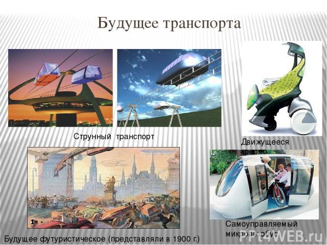 Будущее транспорта Струнный транспорт Самоуправляемый микроавтобус Движущееся кресло Будущее футуристическое (представляли в 1900 г.)