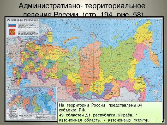 Административно- территориальное деление России (стр. 194, рис. 58) На территории России представлены 84 субъекта РФ. 49 областей ,21 республика, 6 краёв, 1 автономная область, 7 автономных округов.