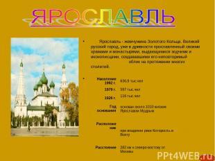 Ярославль - жемчужина Золотого Кольца. Великий русский город, уже в древности пр