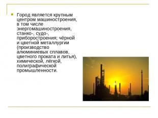 Город является крупным центром машиностроения, в том числе энергомашиностроения,