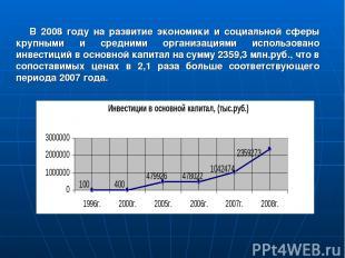 В 2008 году на развитие экономики и социальной сферы крупными и средними организ