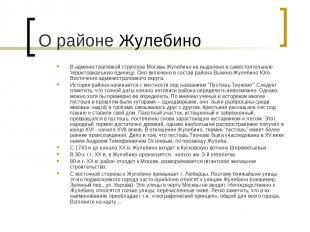 В административной структуре Москвы Жулебино не выделено в самостоятельную терри