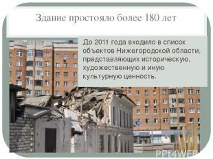 Здание простояло более 180 лет До 2011 года входило в список объектов Нижегородс