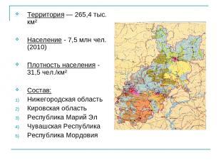 Территория — 265,4 тыс. км² Население - 7,5 млн чел. (2010) Плотность населения