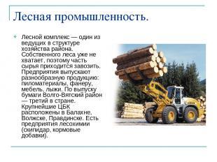 Лесная промышленность. Лесной комплекс — один из ведущих в структуре хозяйства р