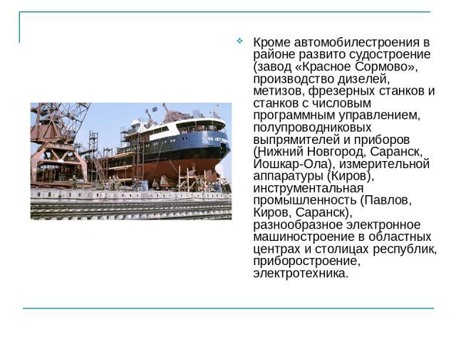 Кроме автомобилестроения в районе развито судостроение (завод «Красное Сормово», производство дизелей, метизов, фрезерных станков и станков с числовым программным управлением, полупроводниковых выпрямителей и приборов (Нижний Новгород, Саранск, Йошк…