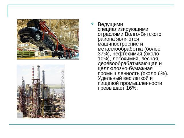 Ведущими специализирующими отраслями Волго-Вятского района являются машиностроение и металлообработка (более 37%), нефтехимия (около 10%), лесохимия, лесная, деревообрабатывающая и целлюлозно-бумажная промышленность (около 6%). Удельный вес легкой и…