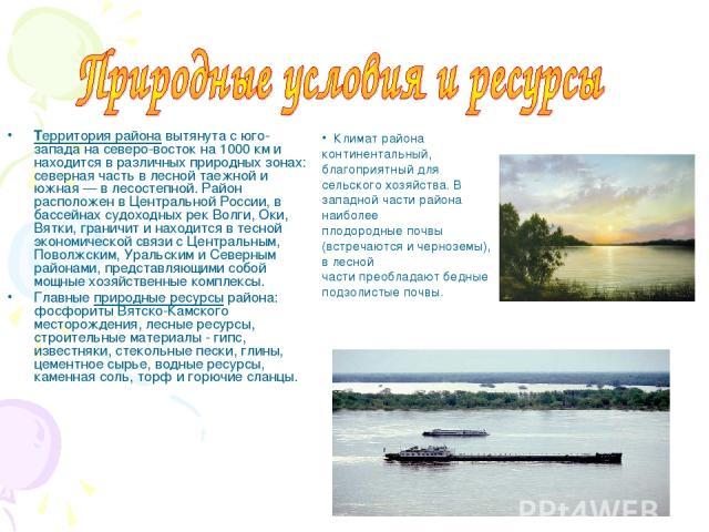 Территория района вытянута с юго-запада на северо-восток на 1000 км и находится в различных природных зонах: северная часть в лесной таежной и южная — в лесостепной. Район расположен в Центральной России, в бассейнах судоходных рек Волги, Оки, Вятки…