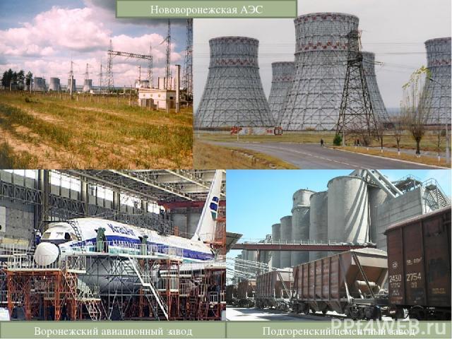 Нововоронежская АЭС Воронежский авиационный завод Подгоренский цементный завод