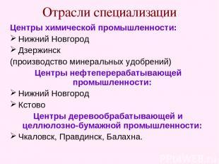 Отрасли специализации Центры химической промышленности: Нижний Новгород Дзержинс