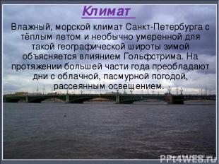 Климат Влажный, морской климат Санкт-Петербурга с тёплым летом и необычно умерен