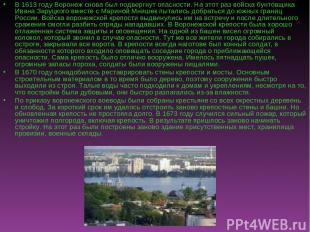 В 1613 году Воронеж снова был подвергнут опасности. На этот раз войска бунтовщик