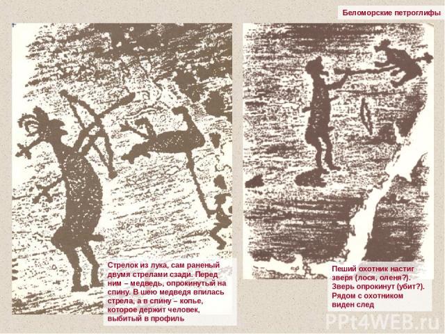Беломорские петроглифы Стрелок из лука, сам раненый двумя стрелами сзади. Перед ним – медведь, опрокинутый на спину. В шею медведя впилась стрела, а в спину – копье, которое держит человек, выбитый в профиль Пеший охотник настиг зверя (лося, оленя?)…