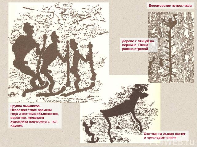 Беломорские петроглифы Группа лыжников. Несоответствие времени года и костюма объясняется, вероятно, желанием художника подчеркнуть пол идущих Охотник на лыжах настиг и преследует оленя Дерево с птицей на вершине. Птица ранена стрелой