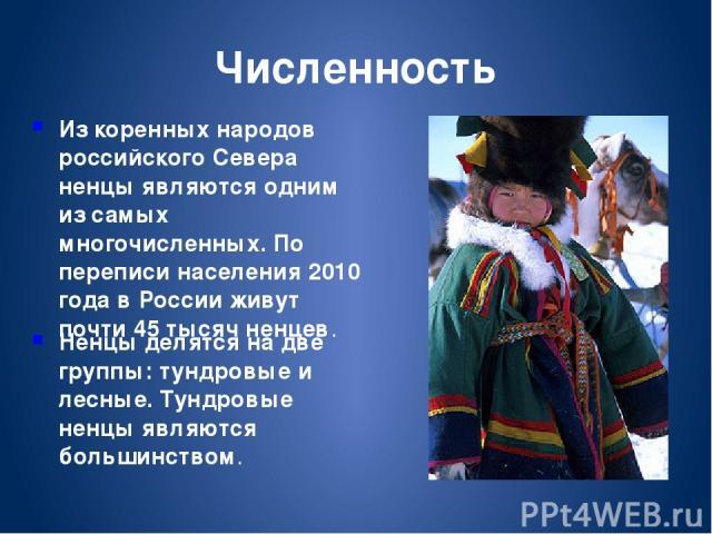 Из коренных народов российского Севера ненцы являются одним из самых многочисленных. По переписи населения 2010 года в России живут почти 45 тысяч ненцев. Ненцы делятся на две группы: тундровые и лесные. Тундровые ненцы являются большинством. Численность