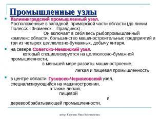 автор: Карезина Нина Валентиновна Промышленные узлы Калининградский промышленный
