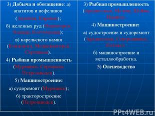 3) Добыча и обогащение: а) апатитов и нефелинов (Апатиты, Кировск); б) железных