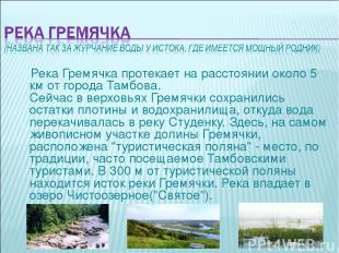 Река Гремячка протекает на расстоянии около 5 км от города Тамбова. Сейчас в вер