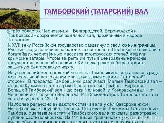 В трёх областях Черноземья – Белгородской, Воронежской и Тамбовской - сохраняется земляной вал, прозванный в народе Татарским. К XVII веку Российское государство раздвинуло свои южные границы. Русские люди селились на землях лесостепного Подонья, но…