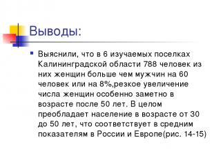 Выводы: Выяснили, что в 6 изучаемых поселках Калининградской области 788 человек