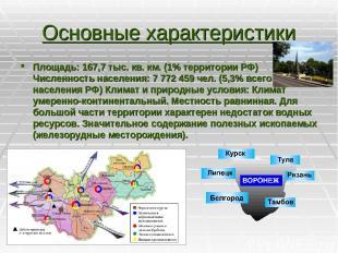 Основные характеристики Площадь: 167,7 тыс. кв. км. (1% территории РФ) Численнос
