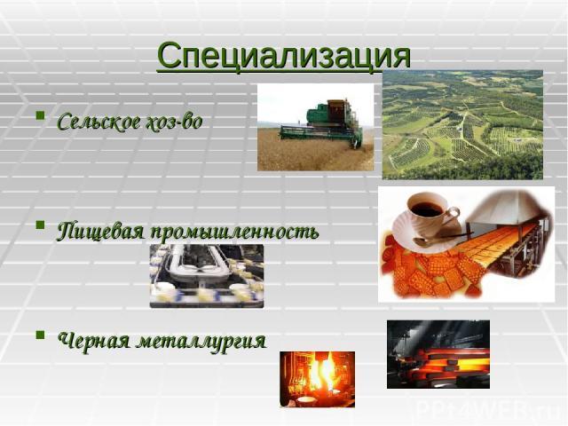 Специализация Сельское хоз-во Пищевая промышленность Черная металлургия
