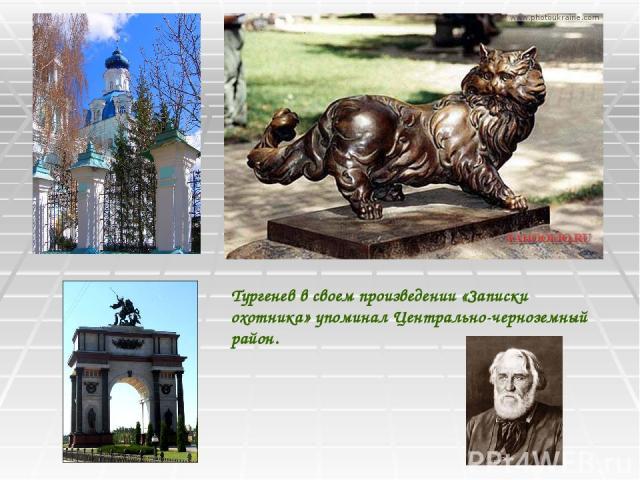 Тургенев в своем произведении «Записки охотника» упоминал Центрально-черноземный район.