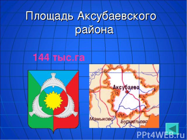 Площадь Аксубаевского района 144 тыс.га
