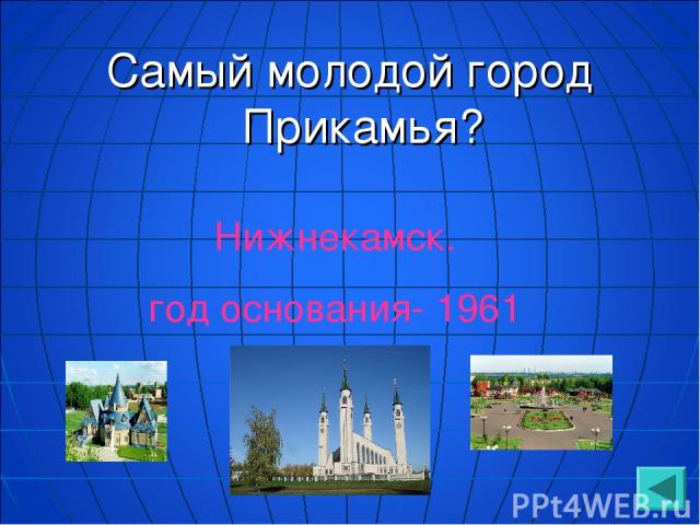 Самый молодой город Прикамья? Нижнекамск. год основания- 1961